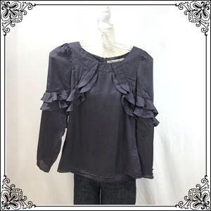 Reiss Long Sleeve Ruffle Blouse #2859